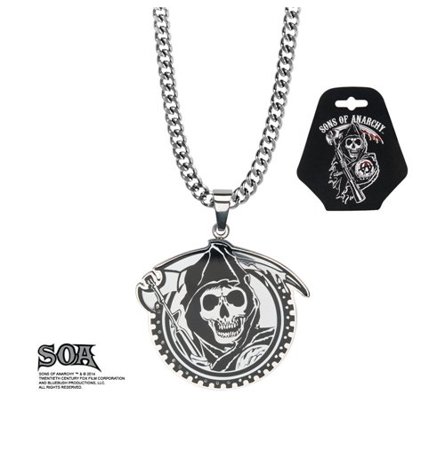 sons of anarchy stainless steel pendant with chain grim