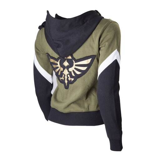 NINTENDO Legend of Zelda Female Royal Crest Full Length Zip Hoodie, Large, Green/Black