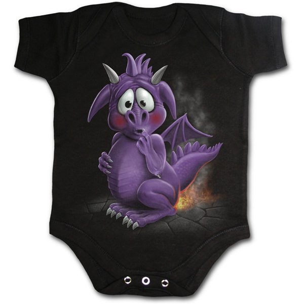Dragon Relief - Baby Sleepsuit Black