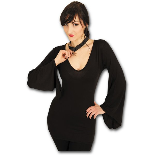 Gothic Elegance - V Neck Goth Sleeve Top Black