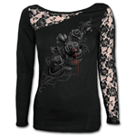 Fatal Attraction - Lace One Shoulder Top Black