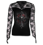 Vamp Fangs - Lace Neck Goth Top Black