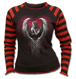 Angel Heart - Print Stripe Top Black