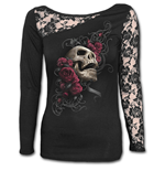 Rose Skull - Lace One Shoulder Top Black