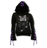 Bright Eyes - Purple Ribbon Gothic Hoody Black
