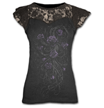 Entwined - Lace Layered Cap Sleeve Top Black
