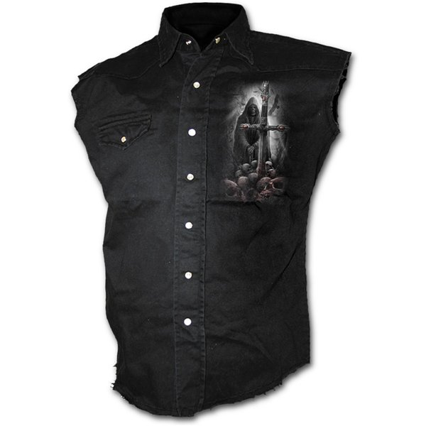 Soul Searcher - Sleeveless Stone Washed Worker Black