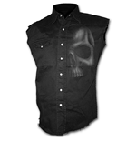 Shadow Skull (GREY) - Sleeveless Stone Washed Worker Black