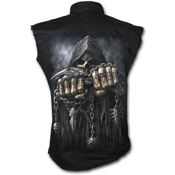 Game Over - Sleeveless Stone Washed Worker Black