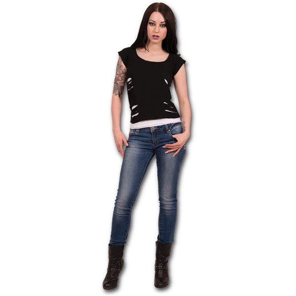 Urban Fashion - 2in1 White Ripped Top Black