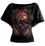 Dragon Furnace - Boat Neck Bat Sleeve Top Black