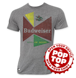 BUDWEISER Men's Gray 60's Pop Top T-Shirt