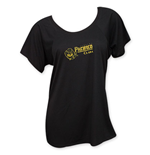 PACIFICO Gold Logo Women's U-Neck Black T-Shirt