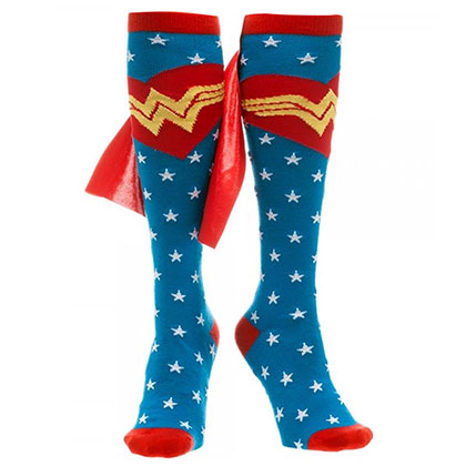 WONDER WOMAN Knee High Caped Star Socks