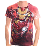 MARVEL COMICS Men's Iron Man Blasting Sublimation Print T-Shirt, Large, Red