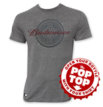 BUDWEISER Men's Gray Medallion Pop Top T-Shirt