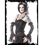 Hip-length corset with satin frills