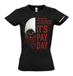 PAYDAY 2 Women's Wolf Mask Medium T-Shirt, Black