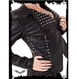 Cropped studded Leather Jacket