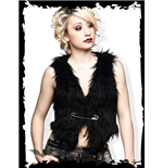 Black furry vest with big safety pin