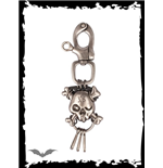 Silver key pendant with skull