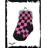 Black/pink chequered sock purse