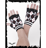 Pink/black plaid fingerless gloves
