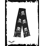 Black scarf with smiling skulls.