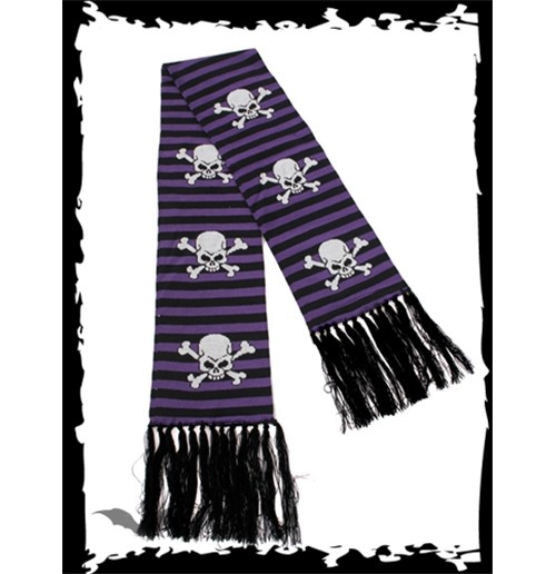 Black/purple striped scarf SKULLS