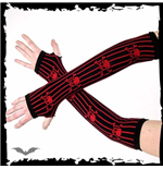 Arm warmers. Black. Red longways stripes