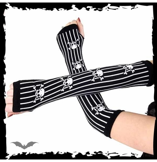 Arm warmers with white stripes & skulls