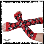 Arm warmers - red / black plaid, skull &