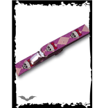 Suspenders purple/pink plaid with skulls