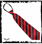 Tie with black and red diagonal stripes.