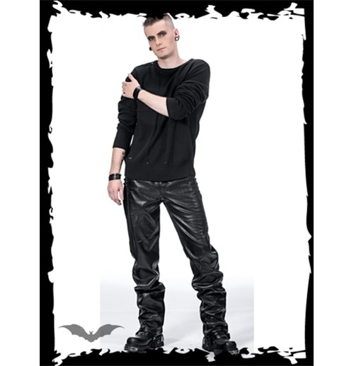 Black pants with leather-look applicatio