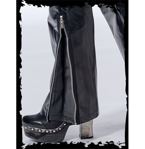 Latex look pants with zipper