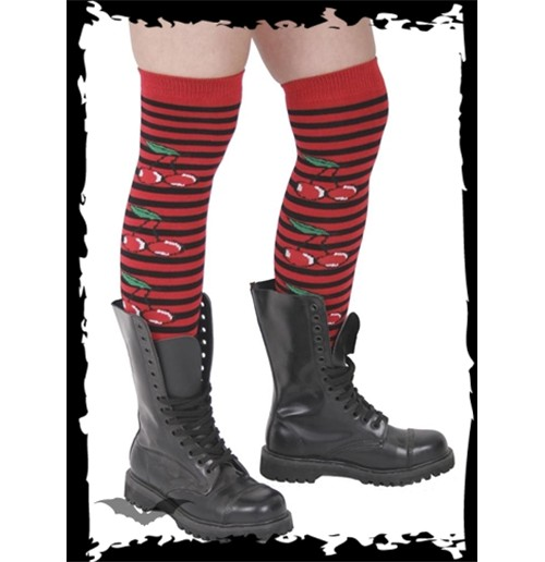 Red/black striped knee socks with cherry