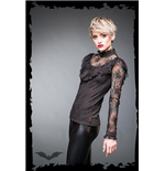 Turtleneck shirt with ruching and lace