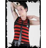 Black/red striped top with latex cross