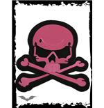 Big pink skull patch for wall or floor