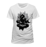 DC COMICS Batman Arkham Knight Gotham City Skyline T-Shirt, Unisex, Small, White
