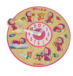 Masha and the Bear - Wooden puzzle clock, 25 Cm