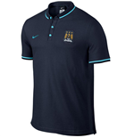 2015-2016 Man City Nike Authentic League Polo Shirt (Obsidian)