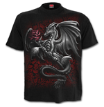 Dragon Rose - Front Print T-Shirt Black