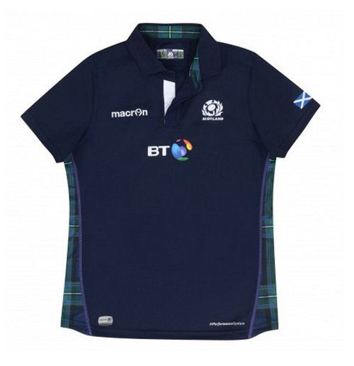 2015 2016 Scotland Macron Home Womens Poly Rugby Shirt For