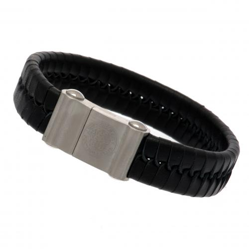 Leicester City F.C. Single Plait Leather Bracelet