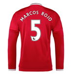 2015-2016 Man Utd Long Sleeve Home Shirt (Marcos Rojo 5)