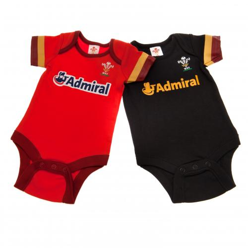 Wales R.U. 2 Pack Bodysuit 6/9 mths GD