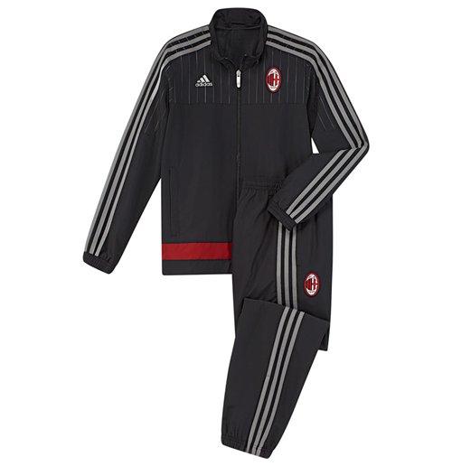 2015-2016 AC Milan Adidas Presentation Tracksuit (Black) - Kids