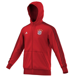 2015-2016 Bayern Munich Adidas 3S Hooded Zip Top (Red)
